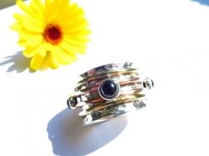 GR10 Lässiger Meditation Sterling Silber 925 Ring Onyx Bewegliche Ringe Freundschafts Unisex