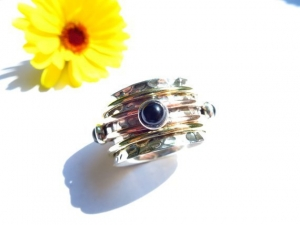 GR8 Lässiger Meditation Sterling Silber 925 Ring Onyx Bewegliche Ringe Freundschafts Unisex