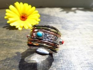 Lässiger Meditations Sterling Silber GR8 Ring Türkis Koralle Boho Ring Freundschafts Ring Unisex