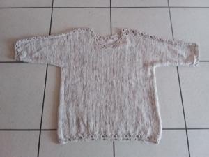 Damenpullover 3/4 Arm Baumwolle Größe 42-46 in creme-braun miliert mit Lochmuster Unikat
