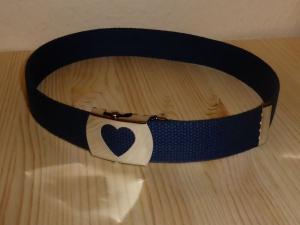 ♡ Blauer Kindergürtel mit Herzschnalle von CasaFarbenfroh ♡