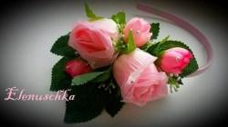 Haarreifen rötliche Rosen
