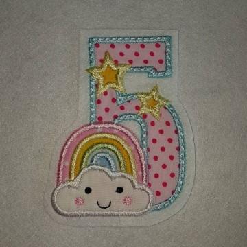 Stickapplikation, Applikation, Aufnäher, Geburtstag Zahl 1- 9,  Regenbogen