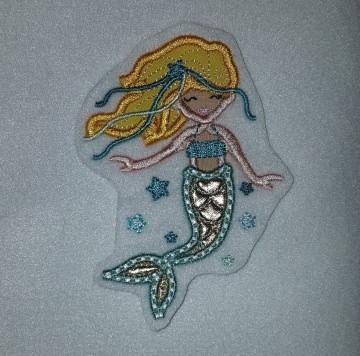 gestickter Aufnäher, Stickapplikation, Aufnäher Meerjungfrau