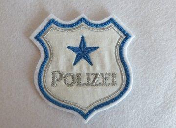 Applikation, gestickter Aufnäher , Stickapplikation Polizeiabzeichen