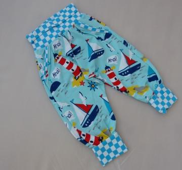 Handmade Hose ,  Pumphose, Maritime Checker Hose in der Größe 80 mit Fake Taschen ♡