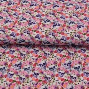 Baumwolle -Flower Sculls-  - Handarbeit kaufen