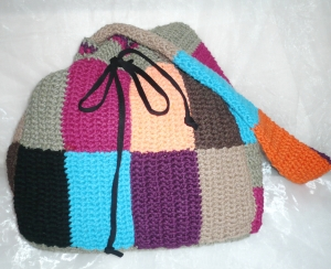 handgehäkelter  bunter Patchworkbeutel aus 100 % Baumwolle, ideal zum Shoppen