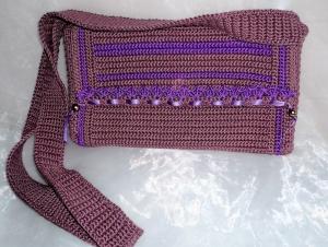 handgehäkelte, schicke Umhängetasche für viele Gelegenheiten aus 100 % Baumwolle