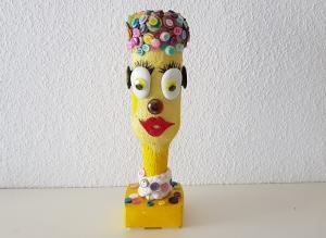 """Flaschenfreundin """"Betty Button"""" - Dekorativer und farbenfroher Flaschenkopf"""