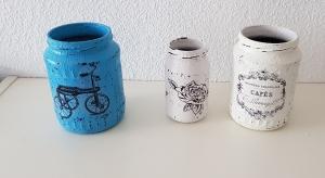3 handgefertigte, upcycling Dekogläser in Shabby chic Vintage Stil