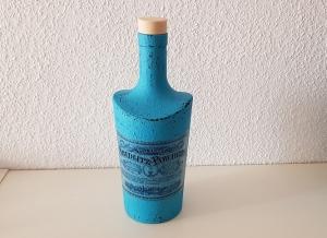 Handgefertigte, upcycling Dekoflasche in Shabby chic Vintage Stil