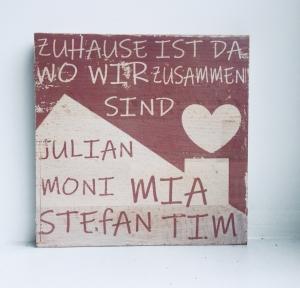 Holzbild ♡ personalisiert Familie. Geschenk, Home, Türschild ♡ Zuhause ist wo wir zusammen sind, mit Namen