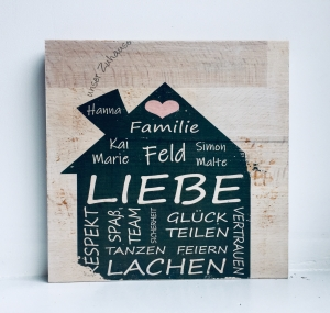 Holzbild ♡  personalisiert mit den Daten deiner Familie. Geschenk Zuhause, Familie, Haus