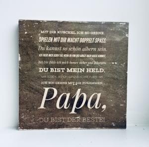 Holzbild ♡  Vatertag ... Danke Papa, du bist der Beste. Version kleines Kind, Geschenk, Vater, Geschenkidee Geburtstag