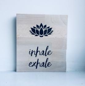 Holzbild ♡  Namaste, Yoga Meditation Mandala, Relax, Wellness, om, inhale exhale.. Geschenk, beste Freundin, bester Freund Geschenkidee