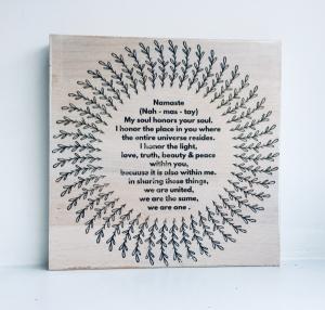 Holzbild ♡ Namaste, Yoga Meditation Mandala, Relax, Wellness, Liebe, Geschenk, beste Freundin, bester Freund, Freundschaft