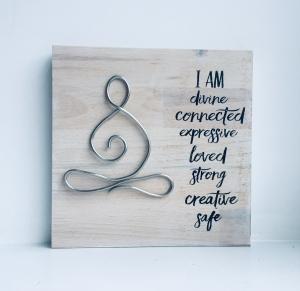 Holzbild ♡ Namaste, Yoga Meditation Mandala, Relax, Wellness, I am divine... Geschenk, beste Freundin, bester Freund,