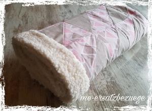 ♥♥♥ Babydecke Decke aus Teddyplüsch Taupe Rosa ♥♥♥
