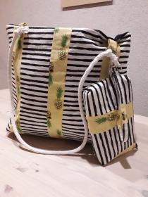 Bade-/Strandtasche/ Shopper Streifen und Ananas, mit extra Tasche fürs Handgelenk