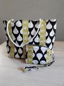 Bade-/Strandtasche/ Shopper Patchwork Tropfen und Fächer, mit extra Tasche fürs Handgelenk