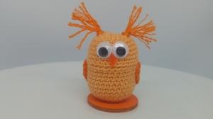 gehäkelte Ü-Ei Kapsel Eule orange