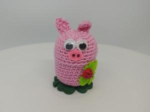gehäkelte Ü-Ei Kapsel Glücksschweinchen