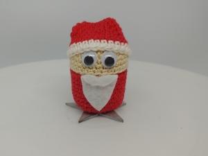 gehäkelte Ü-Ei Kapsel Weihnachtsmann rot/silber