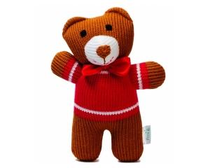Stricktier Bär Misha, handgemachtes Kuscheltier aus ökologischer Baumwolle, 18cm