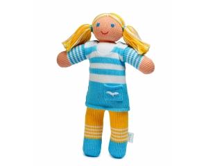 Strickpuppe Marina, handgemachtes Kuscheltier aus ökologischer Baumwolle, 30cm