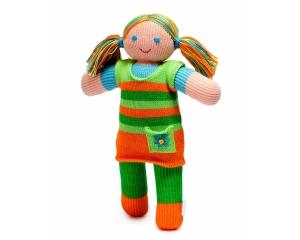 Strickpuppe Jana, handgemachtes Kuscheltier aus ökologischer Baumwolle, 30cm
