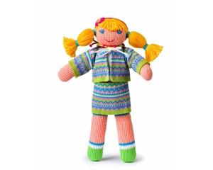Strickpuppe Lera im Sommerkleid , handgemachtes Kuscheltier aus ökologischer Baumwolle, 30cm