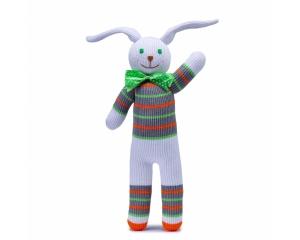 Stricktier Hase Simon, handgemachtes Kuscheltier aus ökologischer Baumwolle, 34cm
