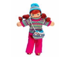Strickpuppe Sophie im Winter , handgemachtes Kuscheltier aus ökologischer Baumwolle, 30cm