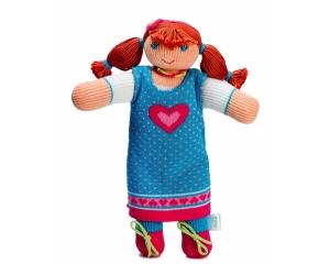 Strickpuppe Sophie im Sommerkleid , handgemachtes Kuscheltier aus ökologischer Baumwolle, 30cm