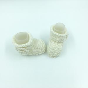 kuschelige Baby Stiefel, naturweiss, für warme Babyfüsschen,handgestrickt