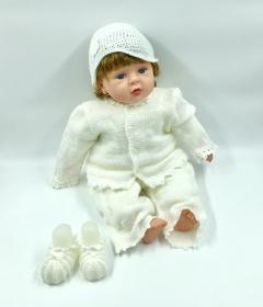 Gr.62, Festlicher Anzug, Taufe, weiss, Baby, als Set mit Basecap und booties