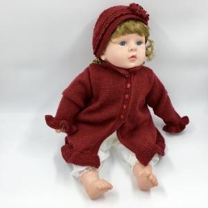 Gr.62/68, Handgestrickte rote Baby Jacke/ Mantel mit Mütze