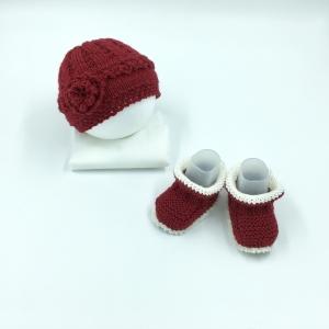 Gr.62/68, Baby Mütze, rot,  handgestrickt, und passende Schuhe, kaufen