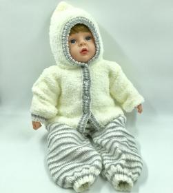 Gr.62/68, handgestrickte, kuschelige Baby Jacke und Hose,  bestellen