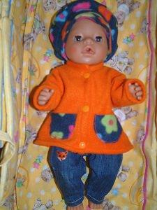 Puppenmantel aus warmen, weichen Fleece ein Unikat