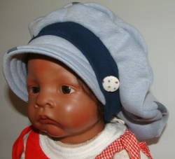 Kindermütze aus Alpenfleece in taubenblau ab 5 Jahre