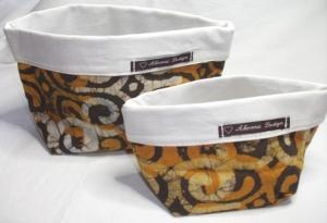 Körbchen Set genäht aus afrikanischem Batikstoff in Gelb, Braun und Weiß - Handarbeit kaufen
