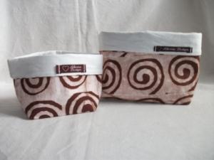 Körbchen Set selbst genäht aus afrikanischem Batikstoff in Braun und Weiß  - Handarbeit kaufen