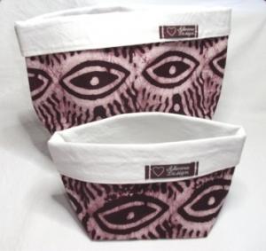 Körbchen Set selbst genäht aus afrikanischem Batikstoff in Violett und Weiß   - Handarbeit kaufen