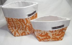 Körbchen Set selbst genäht aus afrikanischem Batikstoff in Orange und Weiß - Handarbeit kaufen