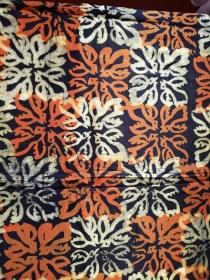 Afrikanischer Batikstoff aus Ghana In Schwarz, Orange und Naturfarben - Handarbeit kaufen