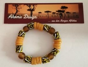 Tolles Armband aus handgefertigten afrikanischen Glasperlen in Braun und Gelb