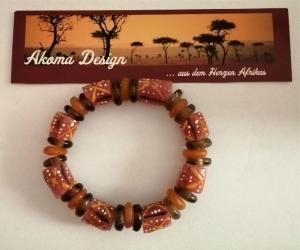 Tolles Armband aus handgefertigten afrikanischen Glasperlen in Brauntönen und Orange
