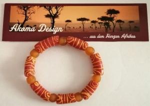 Tolles Armband aus handgefertigten afrikanischen Glasperlen in Orangetönen
